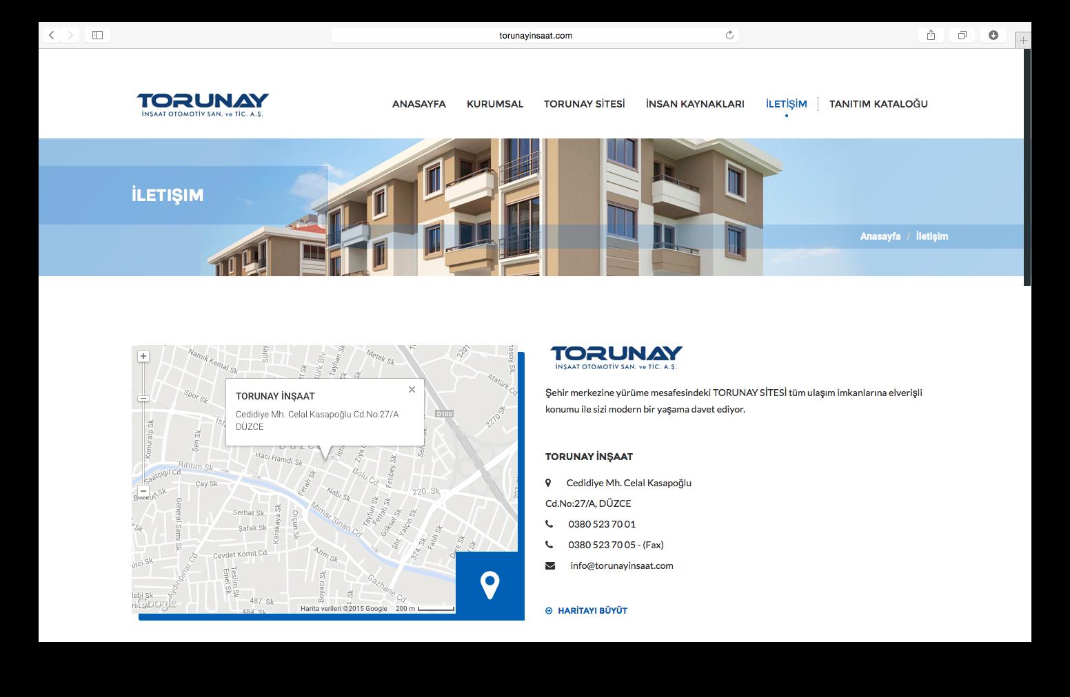Torunay İnşaat Web Sitesi Yayında