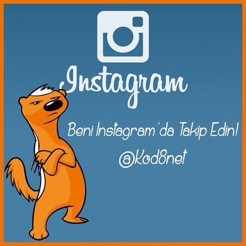 Kod8 Instagram sayfası: www.instagram.com/Kod8net