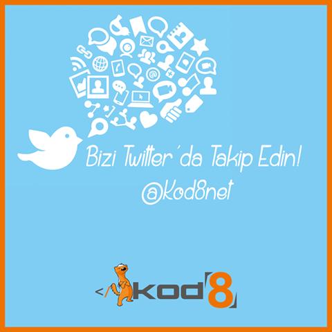Kod8 Twitter sayfası: www.twitter.com/Kod8net
