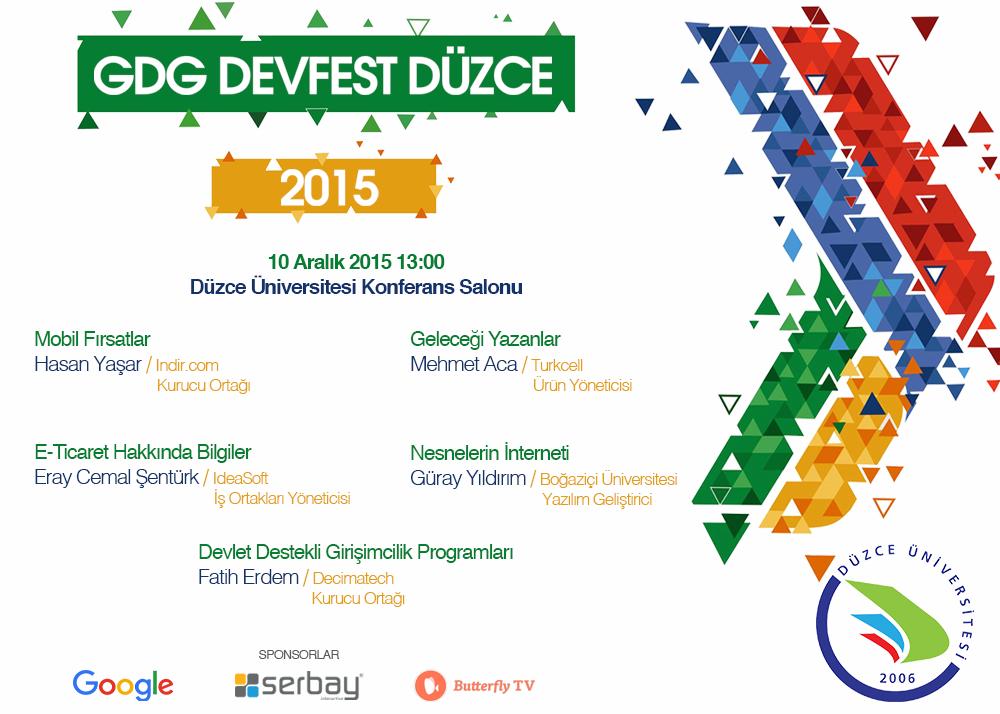 Sponsoru olduğumuz GDG Devfest Düzce 2015 Konuşmacıları