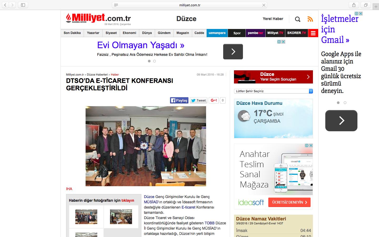 Düzce Ticaret Odası e-ticaret konferansı ulusal basında.