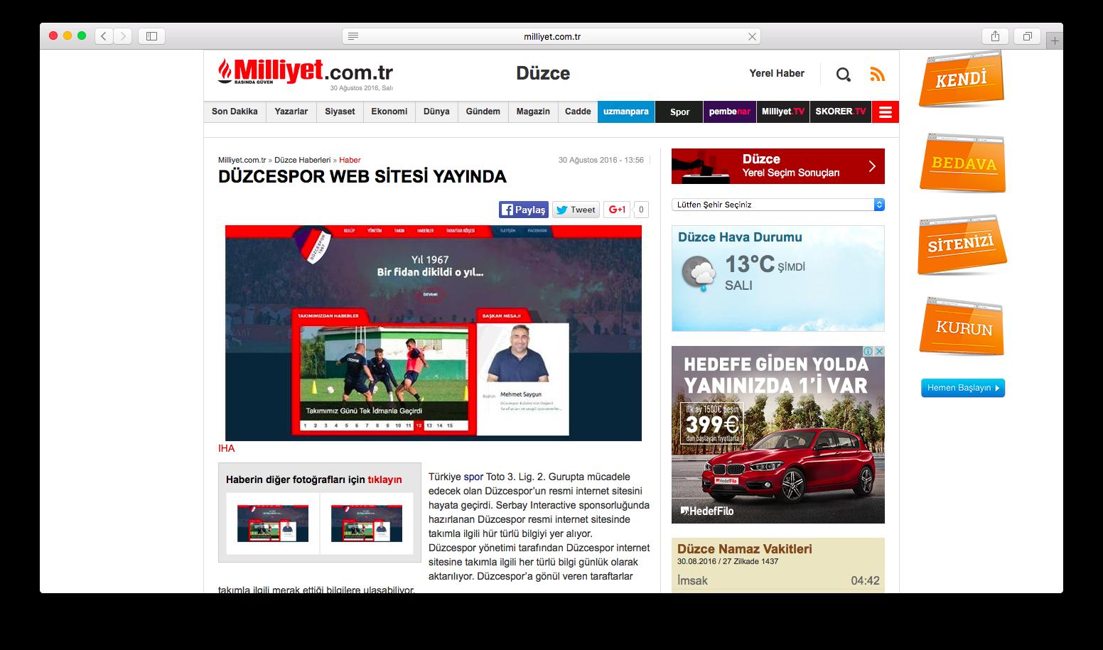 Düzcespor web sitesi ulusal basında.