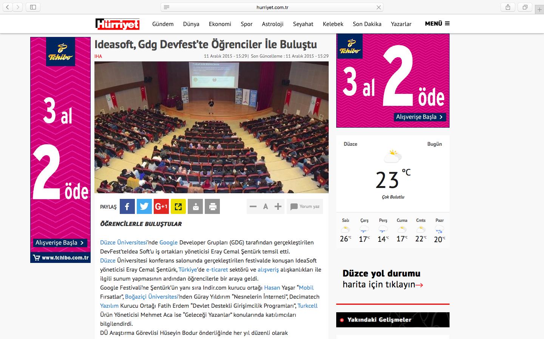 Ideasoft, Düzce Üniversitesi Gdg Devfest konferansı ulusal basında.