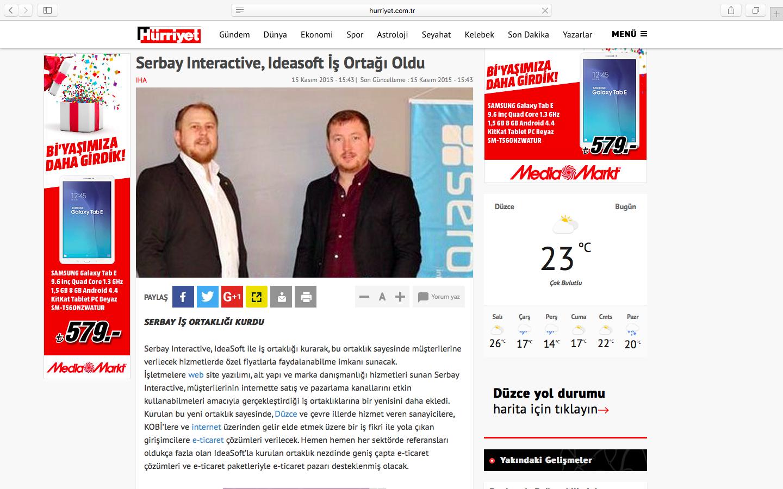 Serbay Interactive, IdeaSoft İş Birliği ulusal basında.