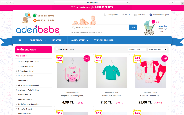 Aden Bebe E-Ticaret Sitesi Yayında!