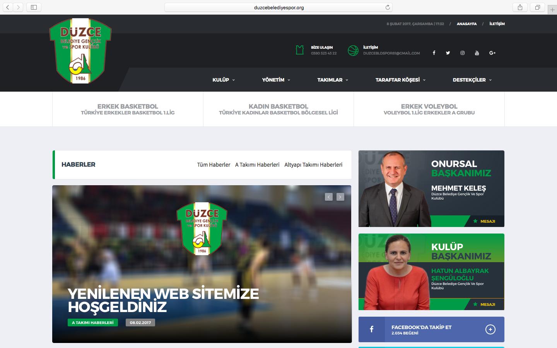 Düzce Belediye Gençlik ve Spor Kulübü Web Sitesi Yenilendi