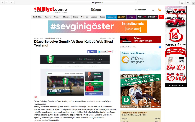 Düzce Belediye Gençlik Ve Spor Kulübü web sitesi ulusal basında.