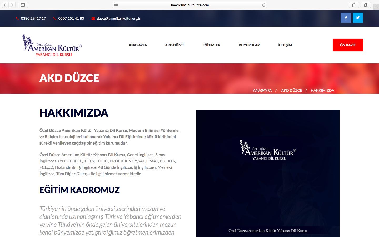 Amerikan Kültür Düzce Şubesinin Web Sitesini Yeniledik!