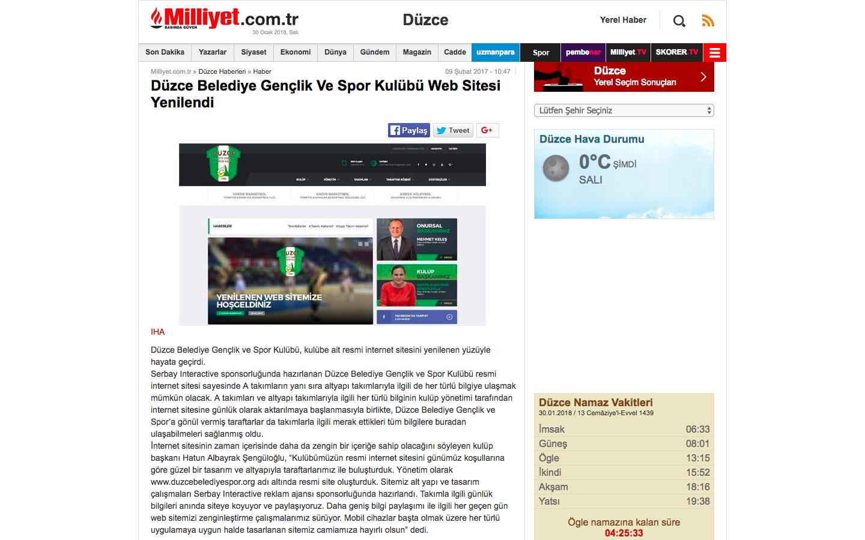 Düzce Belediye Gençlik ve Spor Kulübü Web Sitesi Yenilendi haberi ulusal basında.