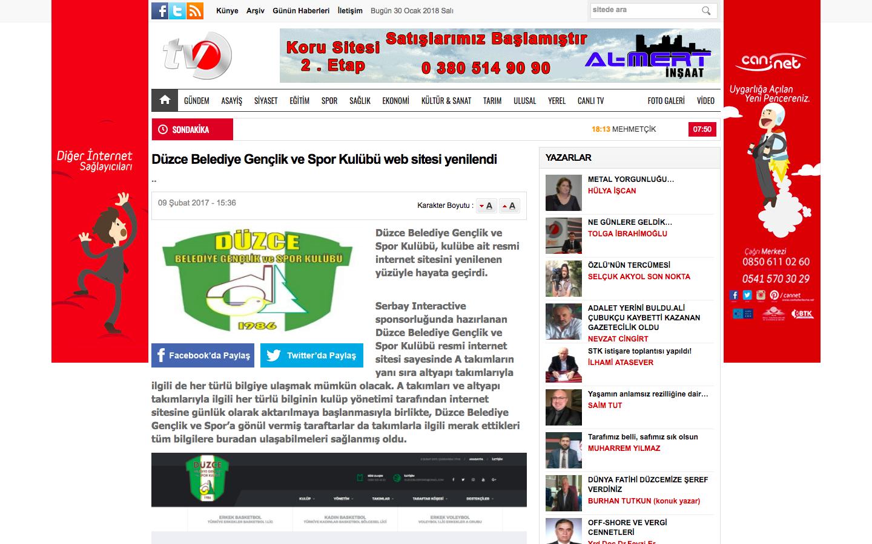 Düzce Belediye Gençlik ve Spor Kulübü Web Sitesi Yenilendi haberi yerel basında.
