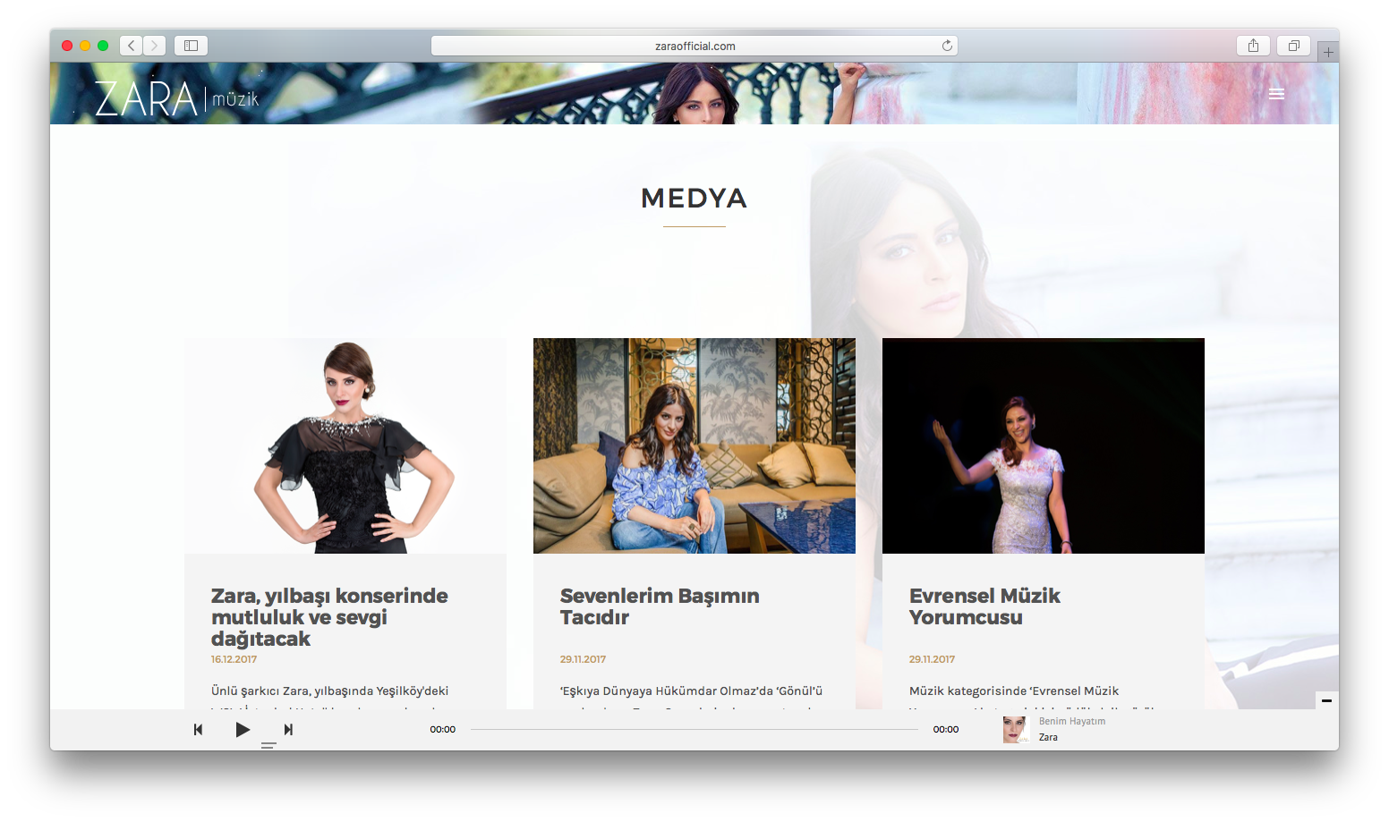 Sanatçı Zara'nın Kişisel Web Sitesini Yeniledik