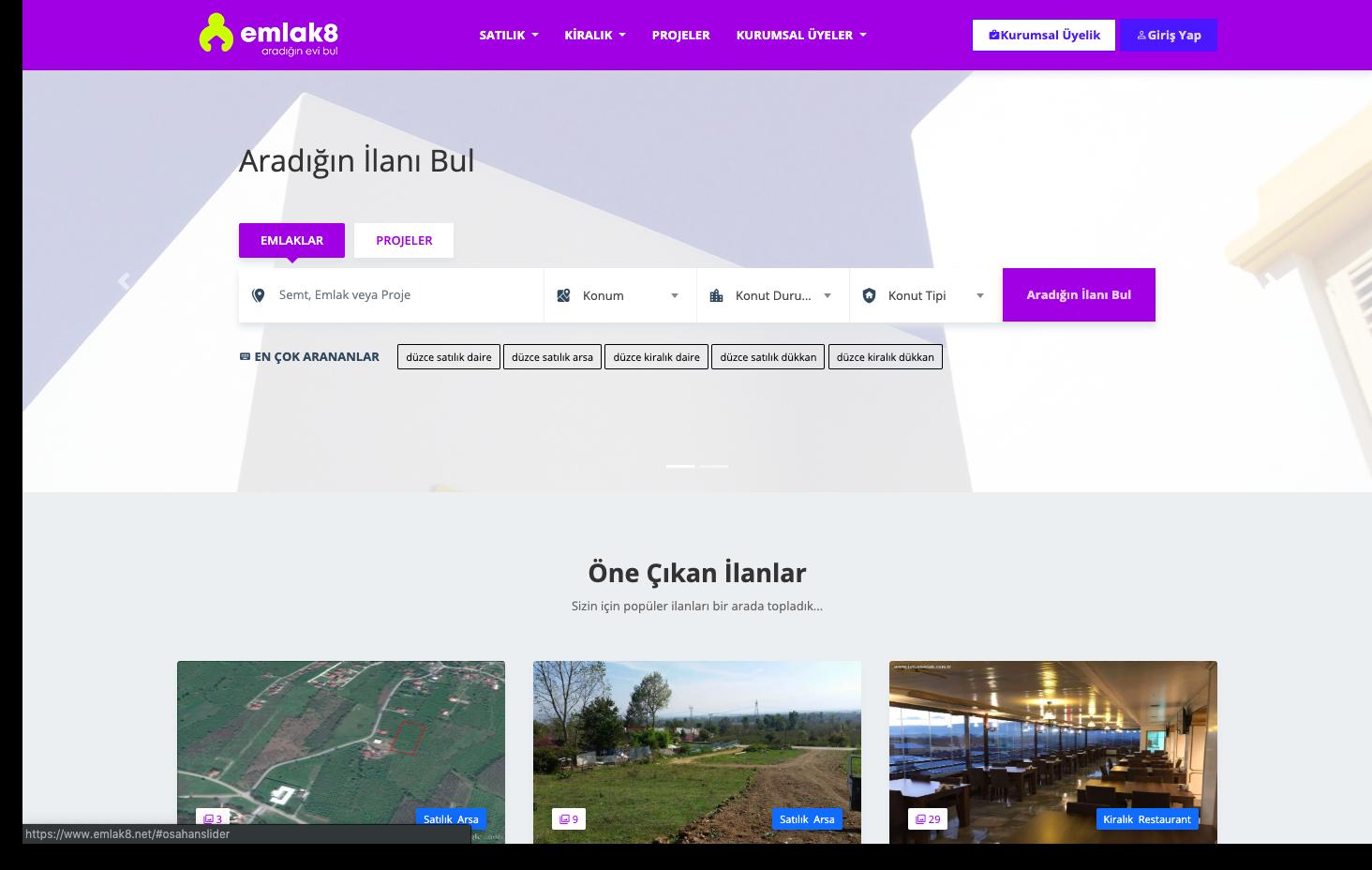Türkiye'nin önde gelen emlak portallarından bir olma iddasıyla yola çıkan Emlak8.net; 'Aradığın evi bul' sloganıyla rengini, logosunu, tasarım ve alt yapısını tamamen yeniledi.