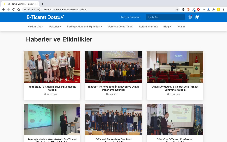 E-Ticaret Dostu platformumuzda e-ticaret sektöründe yer aldan haberlerimizi ve etkinliklerimizi bulabilirsiniz.