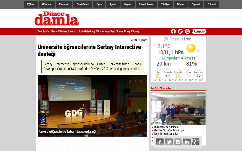 Üniversite Öğrencilerine Serbay Interactive Desteği haberi yerel basında.