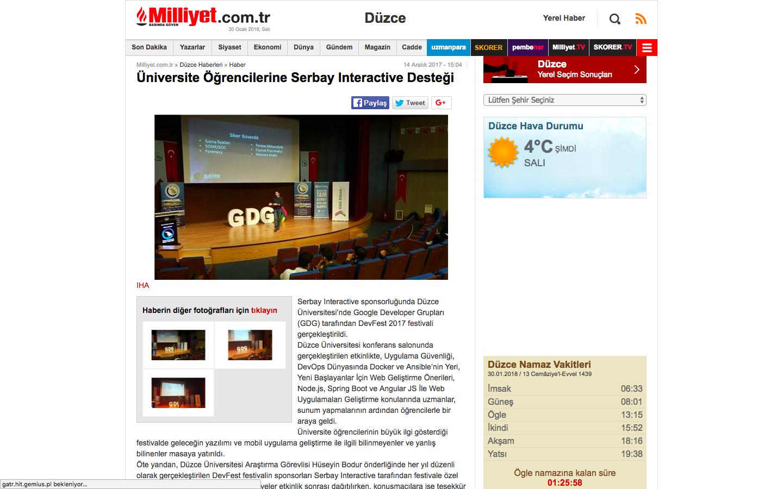 Üniversite Öğrencilerine Serbay Interactive Desteği haberi ulusal basında.